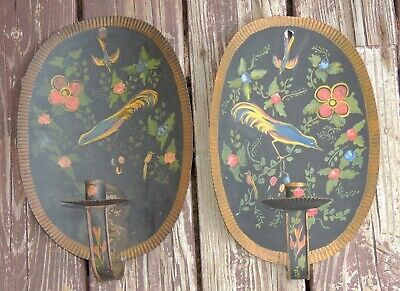 Antique Crimped Tole Painted Tin Wall Candle Sconces w- Birds and Flowers AAFA