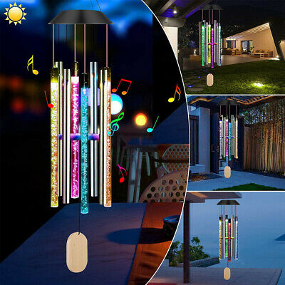 Color Changing Solar Powered LED Wind Chimes Light Garden Bubble Lamp Decor