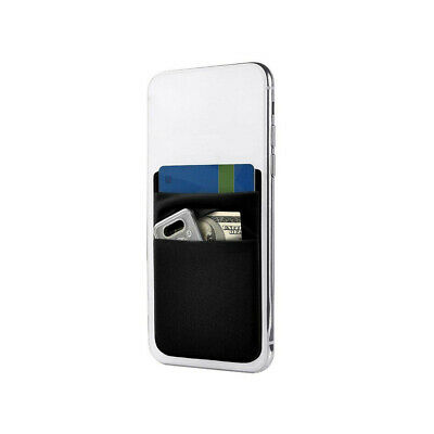 Two Pocket Cell Phone Credit Card Holder Wallet Sticker Black for Key Adhesive