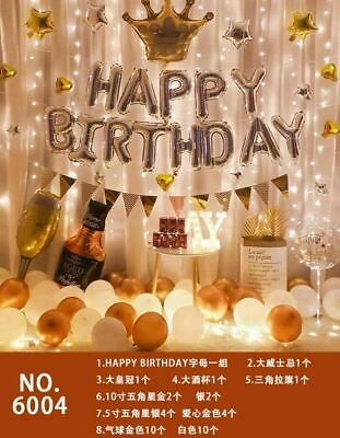 Happy Birthday Party Balloon Whiskey Bottle Crown Anniversary Decor Party US new