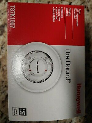 Honeywell T87K1007 The Round White HEAT ONLY THERMOSTAT