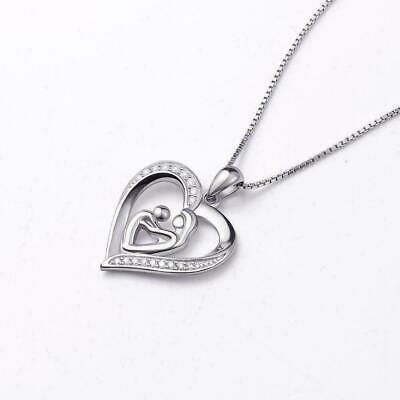 New Mothers Day Gift Mom Child Heart Pendant Chain Necklace Family US R7V5