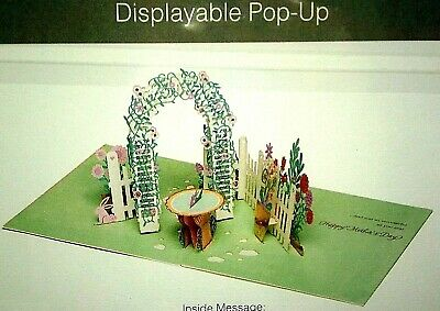 Mothers Day Pop Up Card 3D Large Square Card NEW FlowersTrellis Sundial