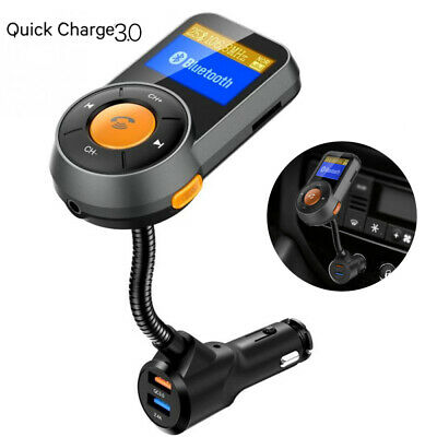 Wireless Bluetooth In-Car FM Transmitter MP3 Radio Adapter Kit QC3-0 USB Charger