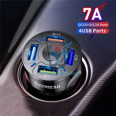 7A 4 USB Port Fast QC 3-0 Car Charger for iPhone Samsung Android Cell Phone