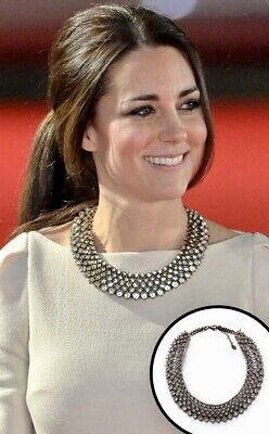 Zara necklace Worn By Kate Middleton With  rows of bezel setwhite crystals-