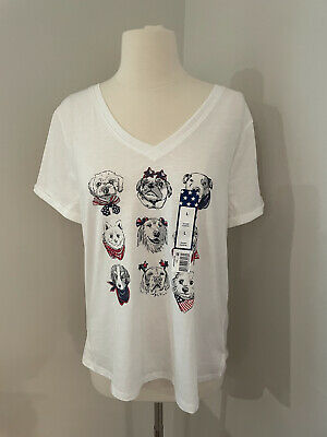 NWT Womens Short Sleeve Patriotic Tee Sz L Dog Red White Blue 4th July Vneck