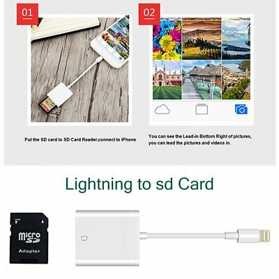 SD Card Camera Reader Adapter for Apple iPad iPhone 12 11 Plus 8 7 6 X XS Max