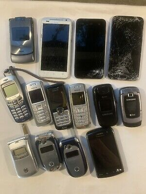 Lot of 14 Cell Phones for Parts Only Nokia HTC Samsung Galaxy Motorola