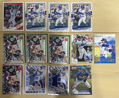 Mookie Betts Baseball Card Lot Of 13 Insert Refractor Base Red Sox Dodgers MLB