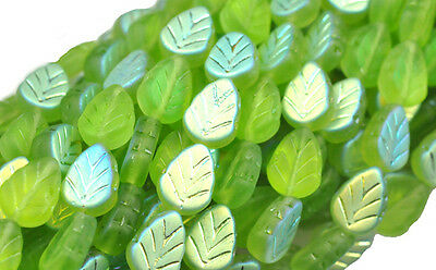 25 OLIVINE AB FROSTED GLASS LEAF BEADS 10MM