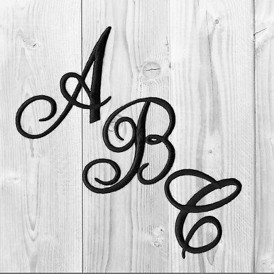Embroidered Iron on Script Letters-WhiteBlack Or Red-Sold Separately-USA SELLER