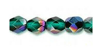 50 Flamboyant Emerald Czech Glass Faceted Fire Polished Beads 6MM