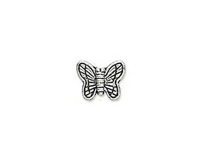 50 Antique Silver Plated Metal Butterfly Beads 10MM