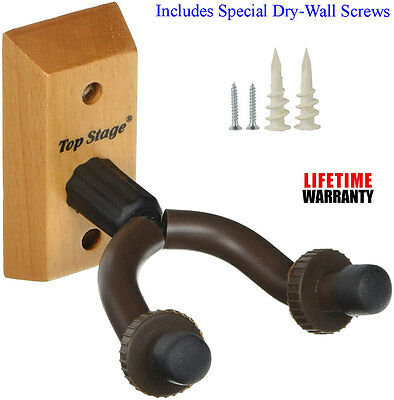 Top Stage™ Guitar Wall Mounted Hanger Holder Stand Fits All guitars JX15-NAT