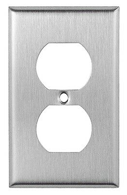10 pc NEW 1-Gang Standard Duplex Outlet Brushed Stainless Steel Wall Plates