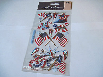 Scrapbooking Stickers Sticko 4th Fourth of July Celebrations Flags Fire Works