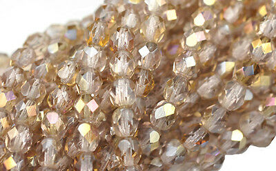 50 LT AMETHYST TWILIGHT FIRE POLISHED FACETED ROUND CZECH GLASS BEADS 6MM