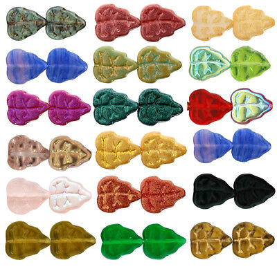 25 Czech Glass Leaf Beads 10mm  Opaque - Transparent Colors Choice Of Color