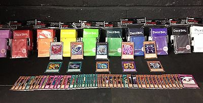 70 YuGiOh Cards Pack with XYZ - Rares - Holos - Deck Box - Sleeves