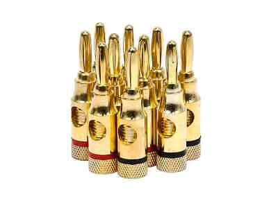 Monoprice High-Quality Gold Plated Speaker Banana Plugs - 5 Pairs - Open Screw