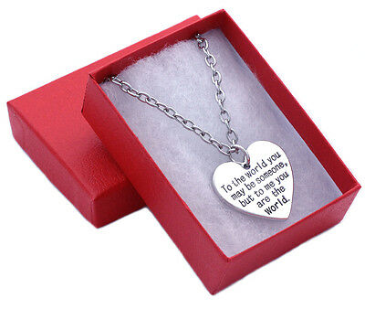 Mothers Day Birthday Gift for Mom Wife You are My World Heart Necklace