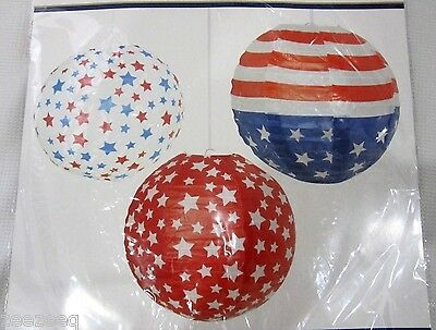 Patriotic 4th of July Stars Flag Paper Lanterns Decorations Decor Set of 3