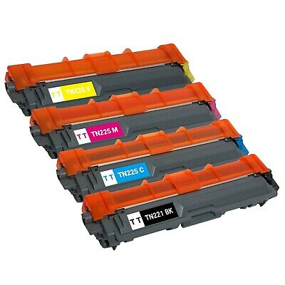 Set of 4 TN-221 TN-225 BCMY High Yield Toner for Brother HL-3140CW HL-3170CDW