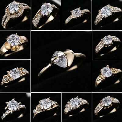 Mothers Day Gift 10KT Gold CZ Crystal Women Wedding Ring Size 8 Women Jewelry