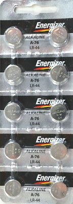 10 Fresh Genuine Energizer LR44 A76 357 1-5V Alkaline Coin Cell Button Batteries