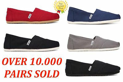 AUTHENTIC Toms CLASSIC CANVAS Slip-On Womens Shoes RedBlackAsh NavyFull BLK