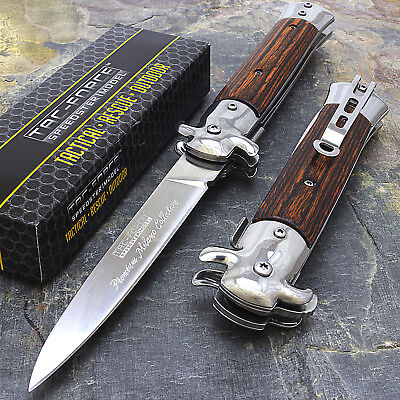 9 STILETTO TAC FORCE MILANO TACTICAL WOOD SPRING ASSISTED FOLDING KNIFE Pocket