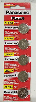 FRESHLY NEW 5x Panasonic CR2025 Lithium Battery 3V Coin Cell Exp 2025