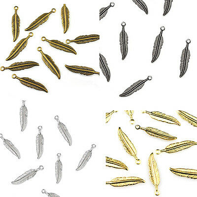 25 Plated Feather Charm Dangle Beads Gold  Silver  Gunmetal Or Antique Copper