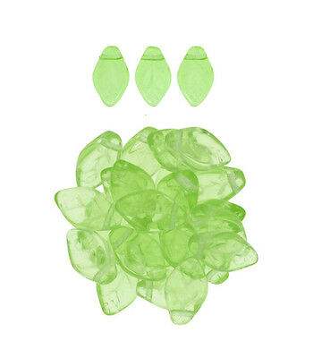 25 Translucent Peridot Green Czech Glass Leaf Beads Side Drilled 12MM LIMITED