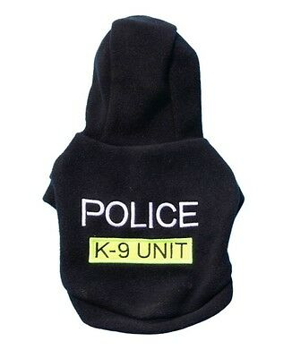 Puppy Pet Dog Cat Clothes Hoodie Police T-Shirt Soft Warm Coat Costume Apparel