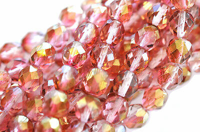 25 Pink Gold Luster Faceted Fire Polished Round Glass Beads 8MM
