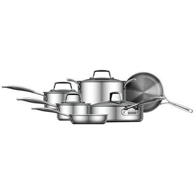 ZWILLING Energy 10-pc Polished 3-Ply Stainless Steel Cookware Set