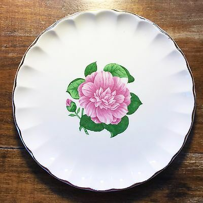 W-S- GEORGE BOLERO Floral CAMELLIA Dessert PLATE Pink Rose Flower Gold Trim DISH