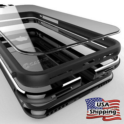 Clear Hard Plastic Back Metal Bumper Case Cover For iPhone XS 8/7/6s Plus