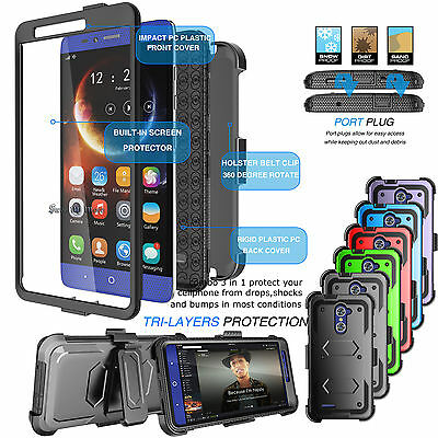 For ZTE ZMAX PRO ARMOR REFINED PHONE COVER - BELT CLIP HOLSTER HARD CASE COVER