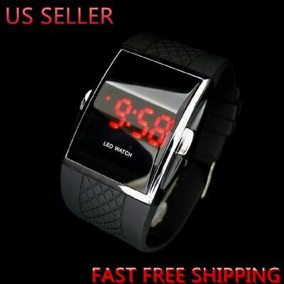 Luxury Mens Fashion LED Digital Date Sports Quartz Rubber Bracelet Wrist Watch