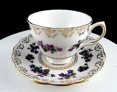 COLCLOUGH ENGLAND PURPLE PANSY - GOLD SCROLLING 2 58 CUP - SAUCER SET