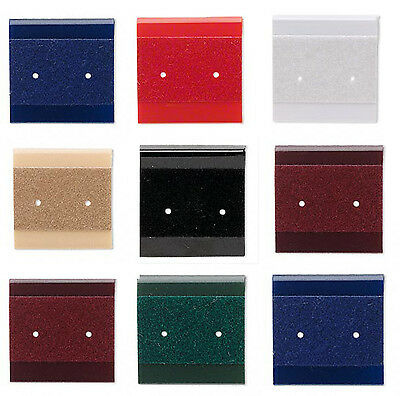 50 Acrylic - Velour Flocked Earring Hang Cards Rich Jewel Colors 1x1 Inch