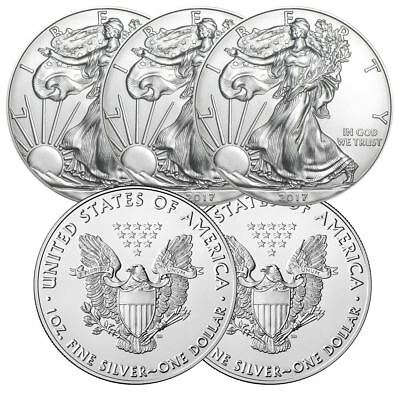 2017 American Silver Eagle 1 oz Silver Coin  Lot of 5 From Mint Tube