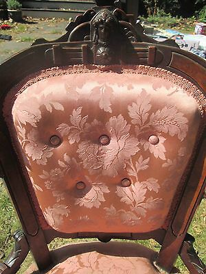 OLD ANTIQUE VINTAGE ORIGINAL VICTORIAN QUEEN ANNE MAHOGANY FIGURAL PARLOR CHAIR
