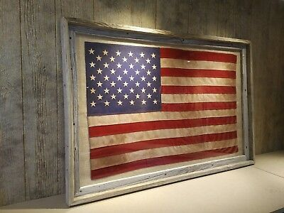 AMERICAN FLAG TEA STAINED ANTIQUED - PLAIN MLXL CUSTOM FRAMED - SHIP FREE