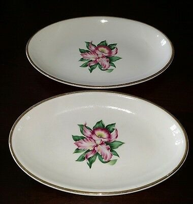 Lot of 2 - Paden City Pottery MODERN ORCHID Vegetable Plates 6 x 9 Oval