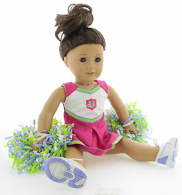 AMERICAN GIRL Truly Me Green Eyes - Freckles Doll With Cheerleader Outfit