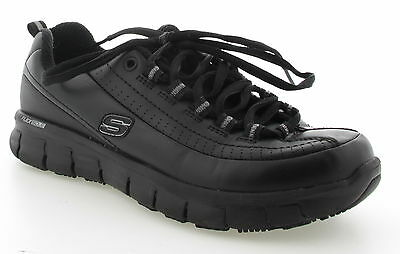 Womens SKECHERS Black Leather Casual Shoes Size 6-5
